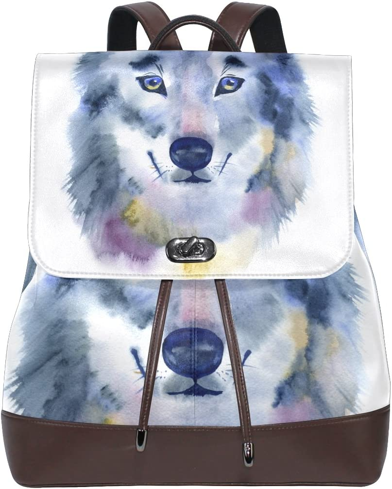 KUWT Watercolor Wolf PU Leather Backpack Photo Custom Shoulder Bag School College Book Bag Rucksack Casual Daypacks Diaper Bag for Women and Girl