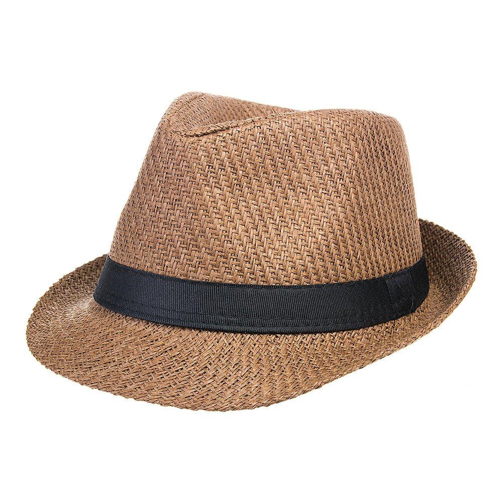 Blue Banana Straw Trilby Hat (Brown)