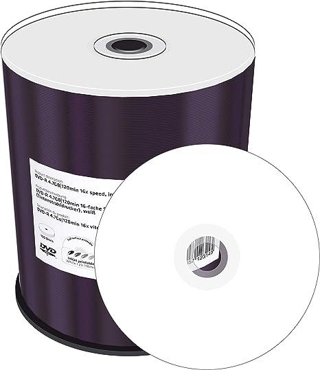 MediaRange MR413 - Pack de 100 DVD-R (16x, 4.7 GB/120 min, Printable), Color Blanco: Amazon.es: Informática