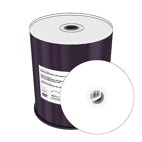 MediaRange MR413 - Pack de 100 DVD-R (16x, 4.7 GB/120 min, Printable), Color Blanco