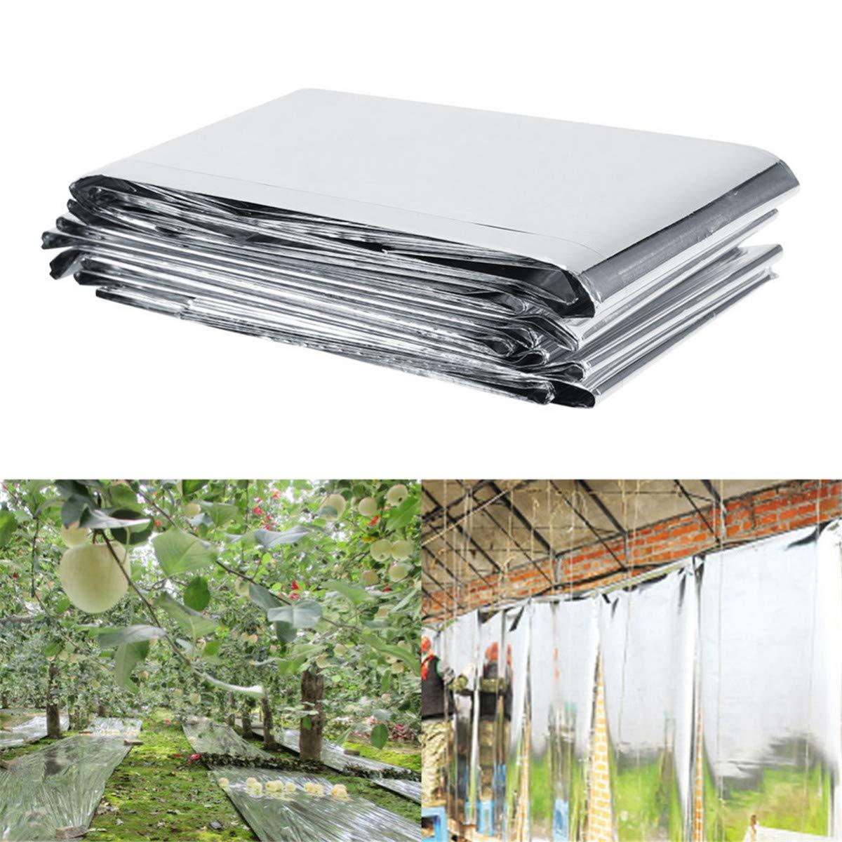 LKXHarleya Silver Reflective Mylar Film Garden Greenhouse Covering Foil Sheets Heat Control Solar Film Fruit Trees Apple Grapes Increasing Temperature Light Plant Grow,82.68 x 47.24inch