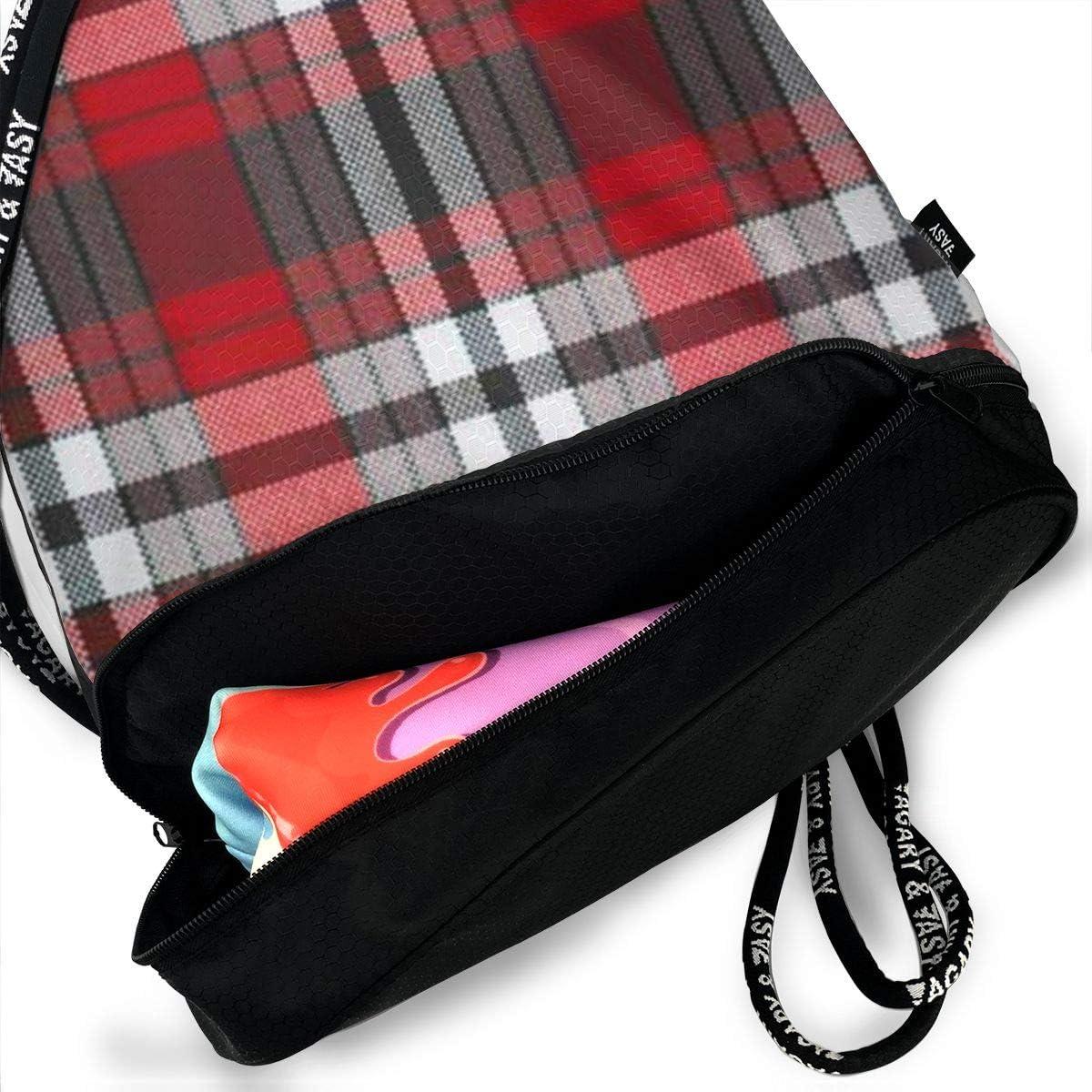 HUOPR5Q Red White Black Plaid Drawstring Backpack Sport Gym Sack Shoulder Bulk Bag Dance Bag for School Travel