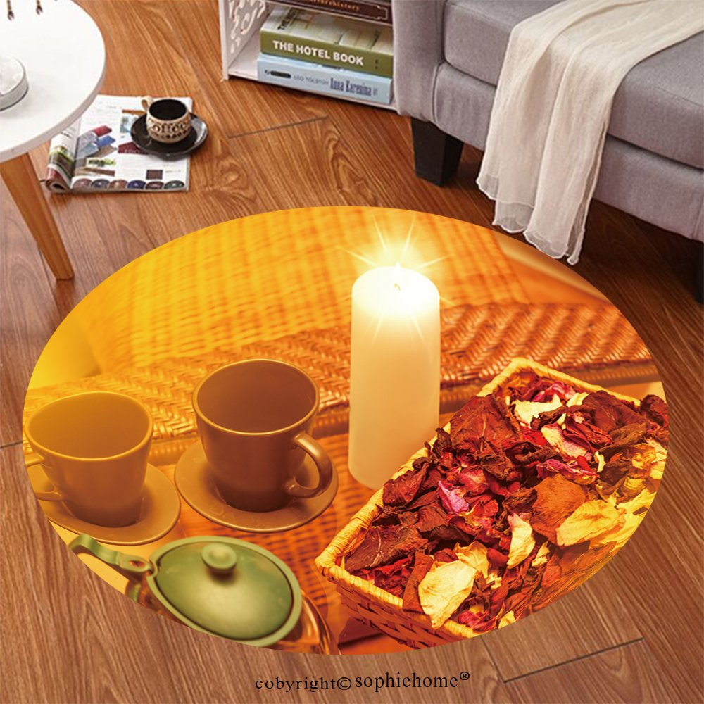 Sophiehome Soft Carpet 132120506 Cap for Tea, white candle and petals of roses on table in spa Anti-skid Carpet Round 47 inches