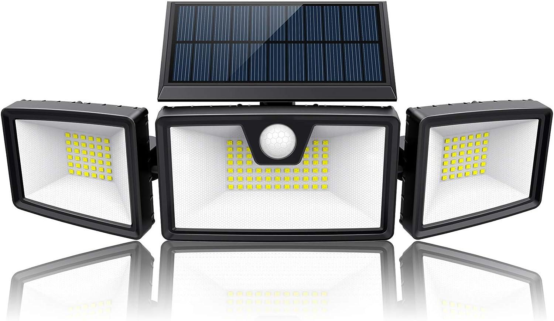 Solar Flood Lights Outdoor Motion Sensor w/ 3 Work Modes, 3 Adjustable Head, Wider Lighting Range. Waterproof Solar Security Light for Outside Wall Garden(1200LM, 132 LED, 5500K)