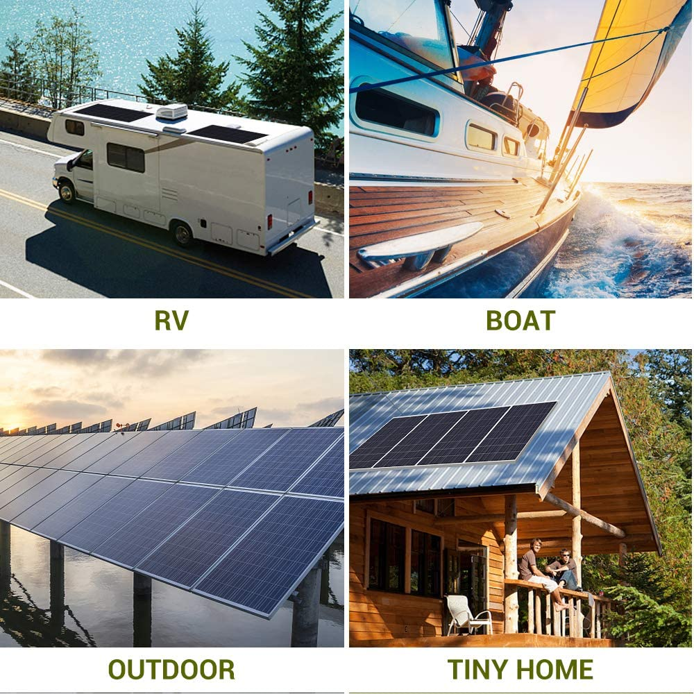 RV and Any Other Off Grid Applications HQST 100 Watt 12 Volt Polycrystalline Solar Panel with MC4 Connectors High Efficiency Module PV Power for Battery Charging Boat Caravan