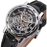 GuTe Classic Steampunk Mechanical Wristwatch Black Skeleton Auto Black Silver Watch Case by GuTe Mechanical