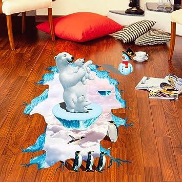 3D Aufkleber, Huihong EisbäR 3D Wandaufkleber Boden Dekor Wandbild  Abnehmbare Kunst Vinyl Aufkleber Zimmer Wohnzimmer