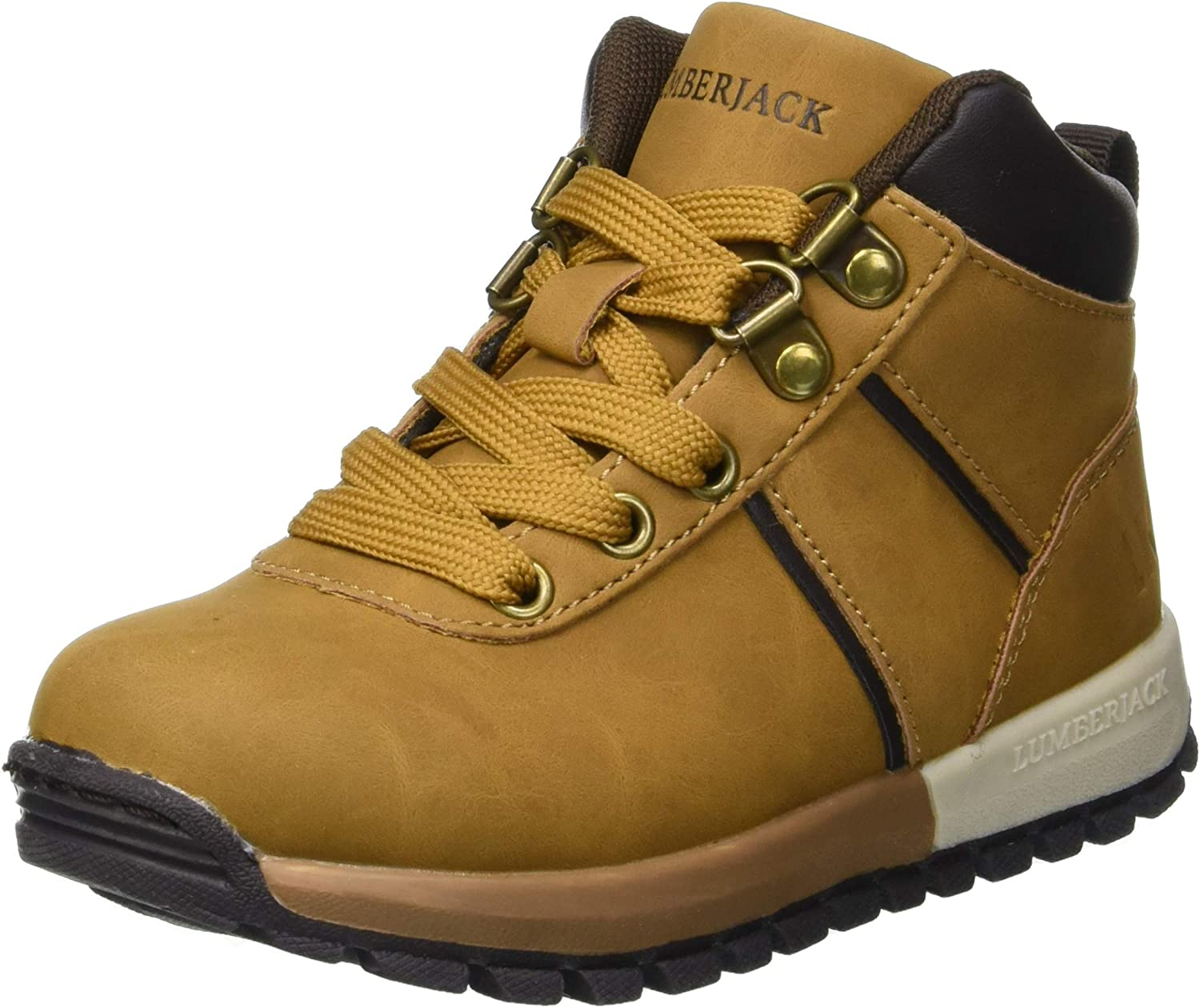 Giallo//Brown Lumberjack Boys Saturn Hi-Top Trainers