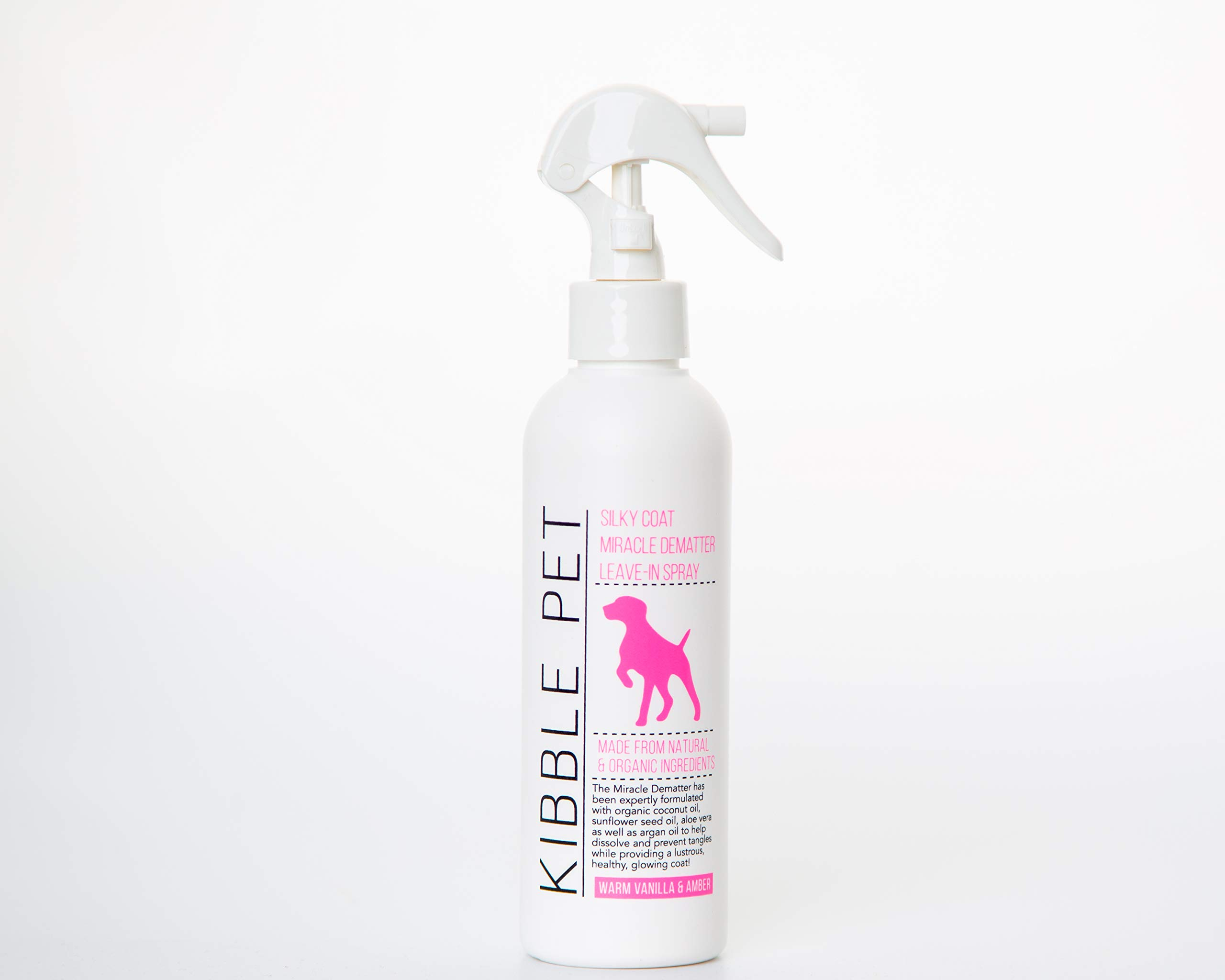Kibble Pet Silky Coat Miracle Dematter Leave in Spray, Warm Vanilla and Amber (7.2 Ounces)