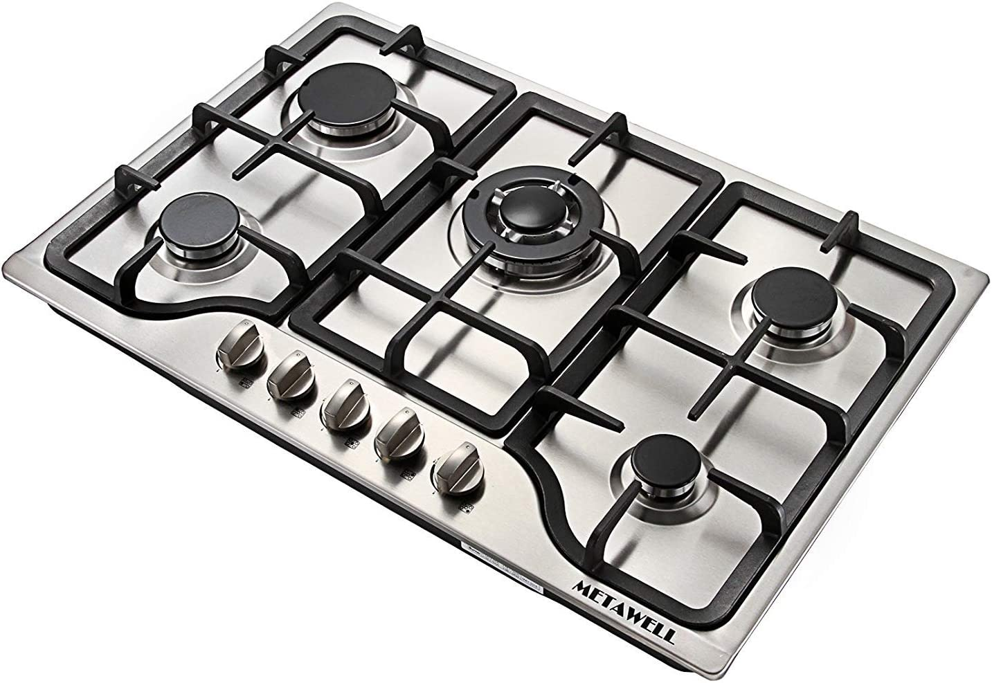 "METAWELL 30"" Stainless Steel 5 Burner Built-in Stoves NG Gas Hob Cooktops Cooker"