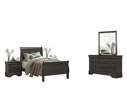 Modern Louis Philippe 5PC Bedroom Set Full Sleigh Bed, Dresser, Mirror, 2  Nightstand