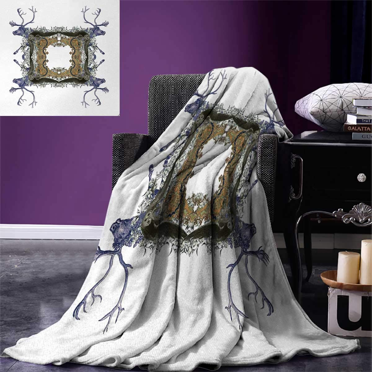 Victorian Throw Blanket Frame with Two Girl Flying to Two Owl Two Hunter Animal Wildlife Jungle Warm Microfiber All Season Blanket for Bed or Couch 50''x30'' Violet Tan Pearl