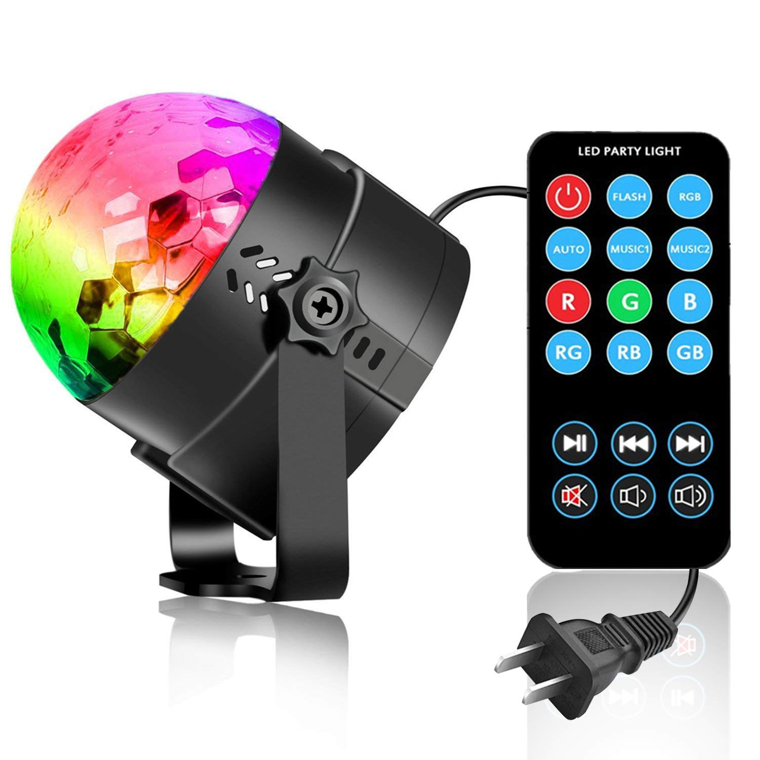 COIDEA Disco Lights Disco Ball LED Party Lights Sound Activated Multiple Modes Supplies Strobe Light Dance Light for Kid, Parties, Bedroom, Birthday (with Remote) by COIDEA