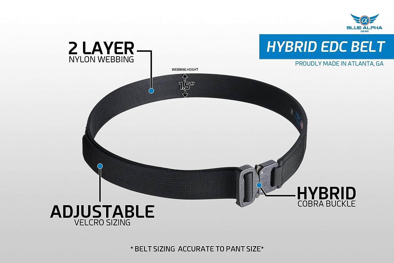 amazon com blue alpha gear 1 5 hybrid cobra edc belt sports