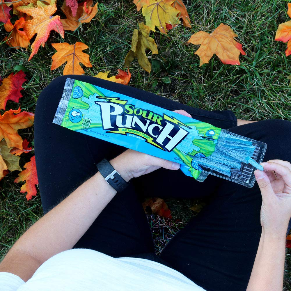 Sour Punch Straws, Blue Raspberry Fruity Flavor, Soft & Chewy Candy, 4.5oz Tray (24 Pack) by Sour Punch (Image #7)