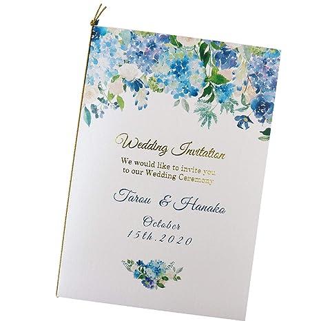 ペーパーアイテム いっぽ 結婚式 招待状 手作りキット フレッシュブルーアーチ 10枚 セット (返信はがき:アレルギー表記なし)