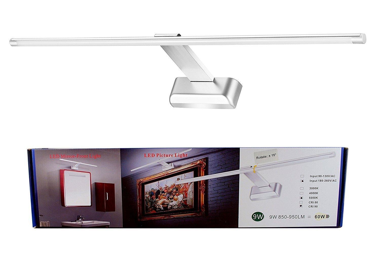 FVTLED 9W LED Aluminium Spiegelleuchte Bilderleuchte Wandleuchte 48LED SMD2835 4000K Weiß Beleuchtung SUBOSI