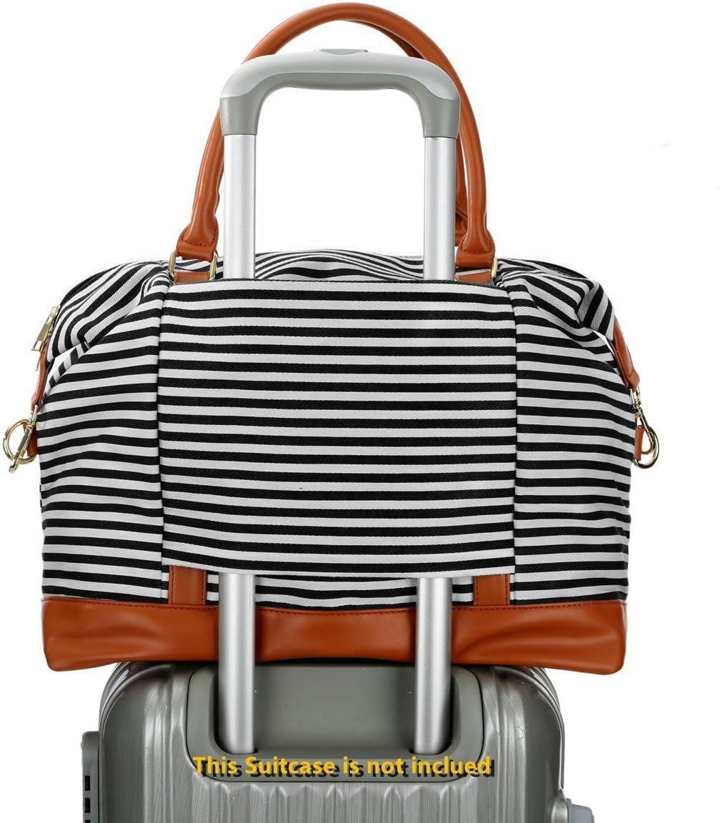 Schwarze Streifen BAOSHA HB-28 Damen Canvas Carry-on Reisetasche Frauen Weekender Handgep/äck Segeltuch Travel Duffel Wochenende /über Nacht Tragetasche