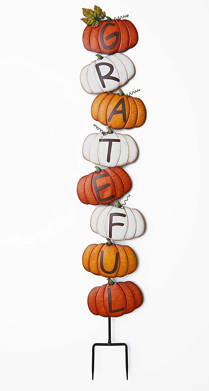 The Lakeside Collection Stacked Pumpkins Grateful Garden Stake Greetings Sentiment Sign
