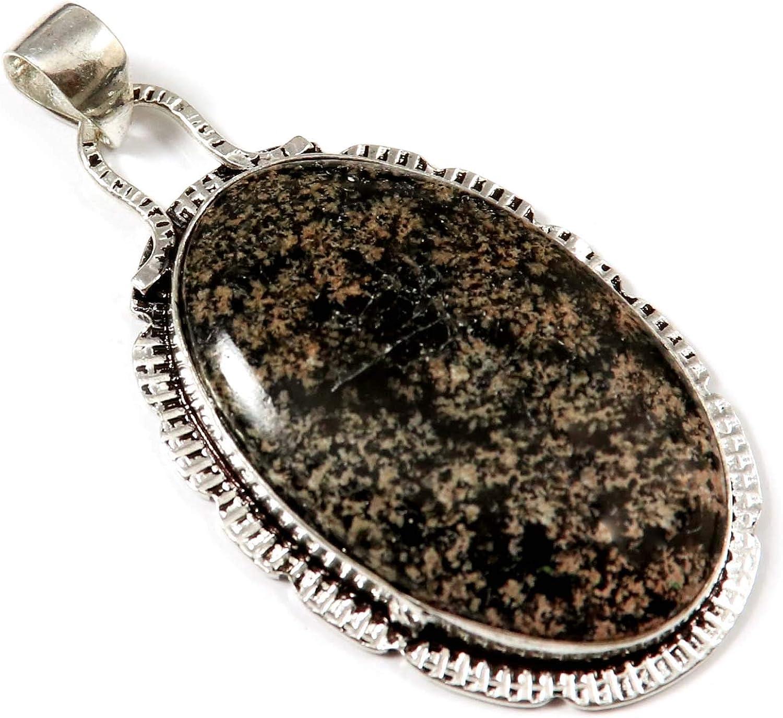 Goyal Crafts GPR126 - Colgante de obsidiana con diseño de fuegos artificiales (chapado en plata)