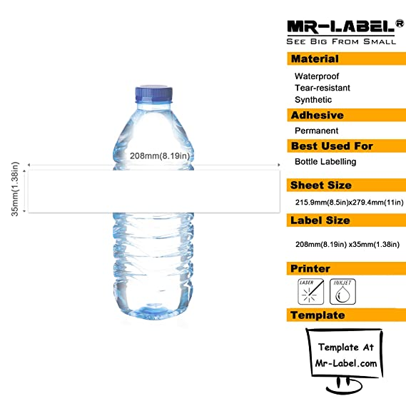 water bottle matte white for weddingbaby showercorporate events10 sheets total 70 labels office products