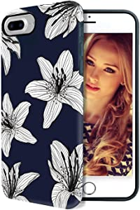 WORLDMOM D for iPhone 8 Plus Case,for iPhone 7 Plus Case,ouble Layer Flowers Case Hybrid Hard PC Shock Absorption Technology Bumper Soft TPU Protective Cover for Apple iPhone 7 Plus/8 Plus, Navy Blue