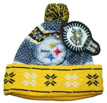 31088303abe ... clearance pittsburgh steelers nfl quotuglyquot led light up cuffed knit  hat e837c 6e3d9