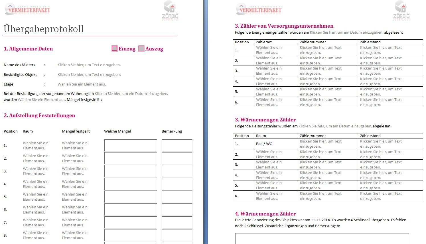 bergabeprotokoll wohnung ein und auszug als doc und pdf download amazonde software - Ubergabeprotokoll Wohnung Muster