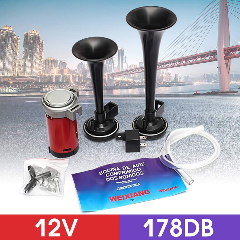 Amazon.com: Universal 178DB Super Loud Dual Trumpet Air Horn Kit 12V Air Compressor Replacement for Boat Truck Train Car Vehicle: Home & Kitchen