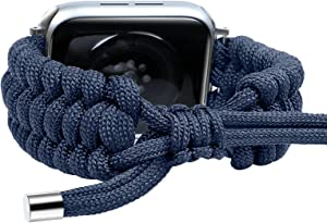 Fun Gaau Nylon compatible Blue AppleWatchBand 38mm 40mm Paracord Adjustable Woven Strap for iwatch Series 6/5/4/3/2/1 Replacement Wristband