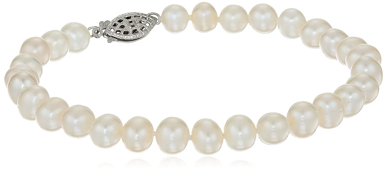 Sterling Silver White Freshwater Cultured A-Quality Pearl Bracelet (6.5-7mm) 8 Amazon Collection FWB6570AW-8