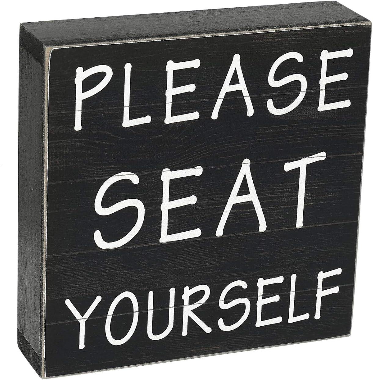 Vumdua Funny Bathroom Signs, Farmhouse Bathroom Wall Decor, 6 x 6 Inches, Please Seat Yourself Bathroom Sign