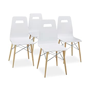 Schon Relaxdays Design Stuhl 4 Er Set ARVID, Holz, Esszimmer Stuhl, Modern