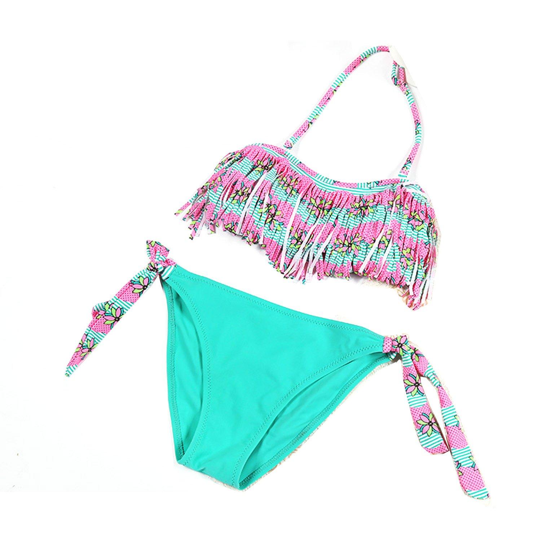 Wengift Kids Multicolored Lotus Tassels Bikini Two Piece Swimsuit