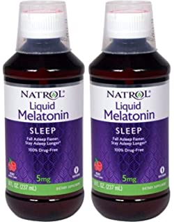 Natrol Melatonin 5mg Sleep Liquid Berry 8 fl oz (2 Pack)