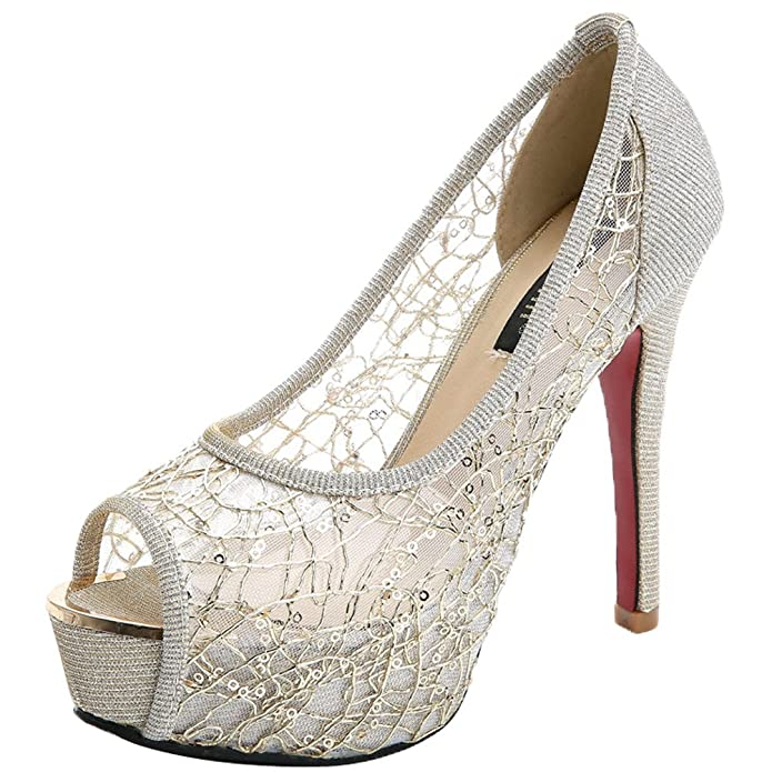Amazon.com: donalworld Zapatos Bowknot Mujer Encaje Tacón ...
