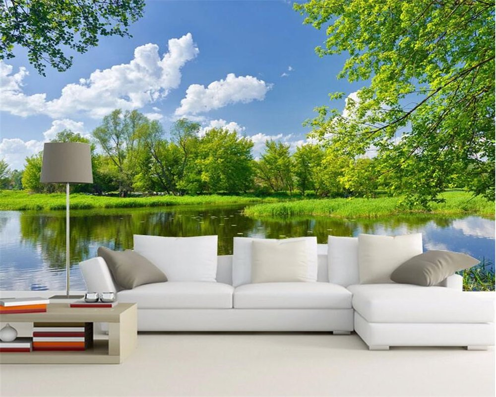 300X250Cm, 3D Large Wall Murals Hd Small Waterfall Green Lake Landscape 3D Wallpaper 3D Living Room Background Wallpaper,By ZLJTYN B07F3ZNWJ3 300X250CM