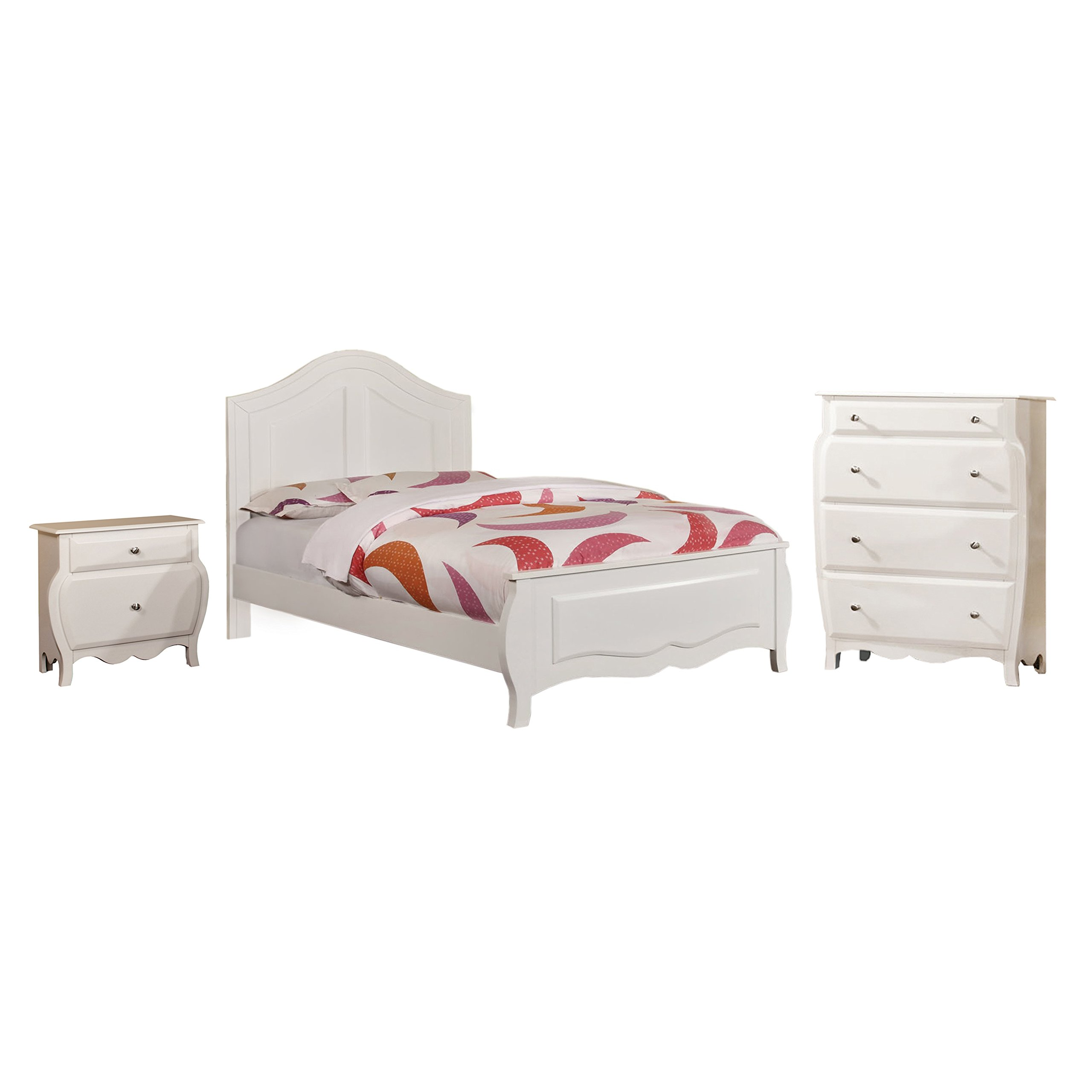 HOMES: Inside + Out 3 Piece ioHOMES Lionel Youth Bedroom Set, Twin, White