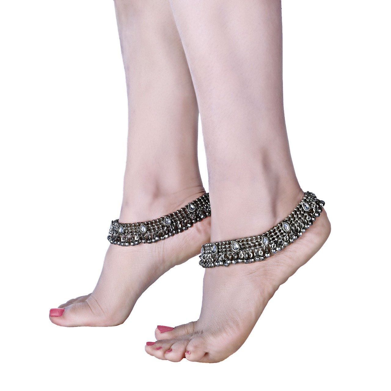 Charms Silver Ethnic Antique Kundan Studded Alloy Anklet cr0255eef