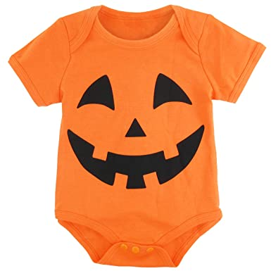 2816be8cb Amazon.com  A J DESIGN Halloween Baby Pumpkin Bodysuits  Clothing