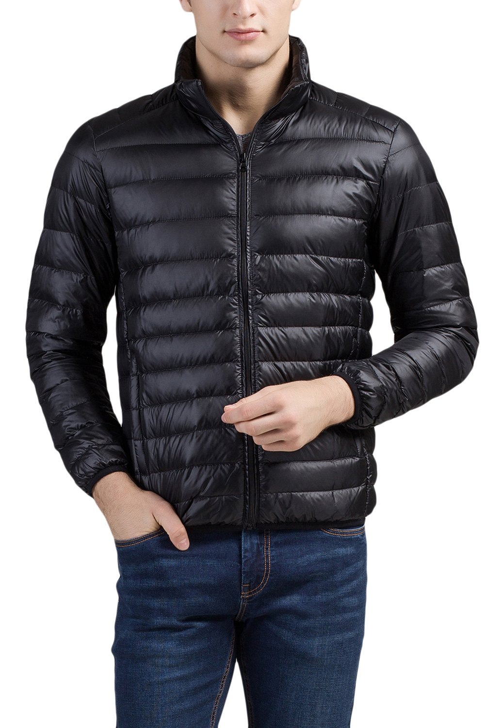 Cheering Men's Packable Down Jacket Weatherproof Winter Coat Black Large