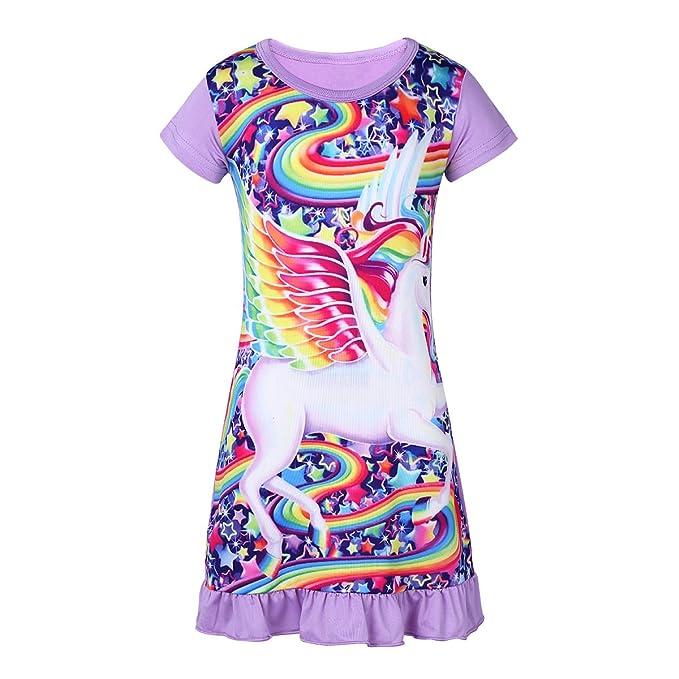 76eb4c992e iiniim Kinder Mädchen Schlafanzug Einhorn Kurzarm Nachtkleid Pyjama  Nachtwäsche Gr.86-116 Lavendel 92