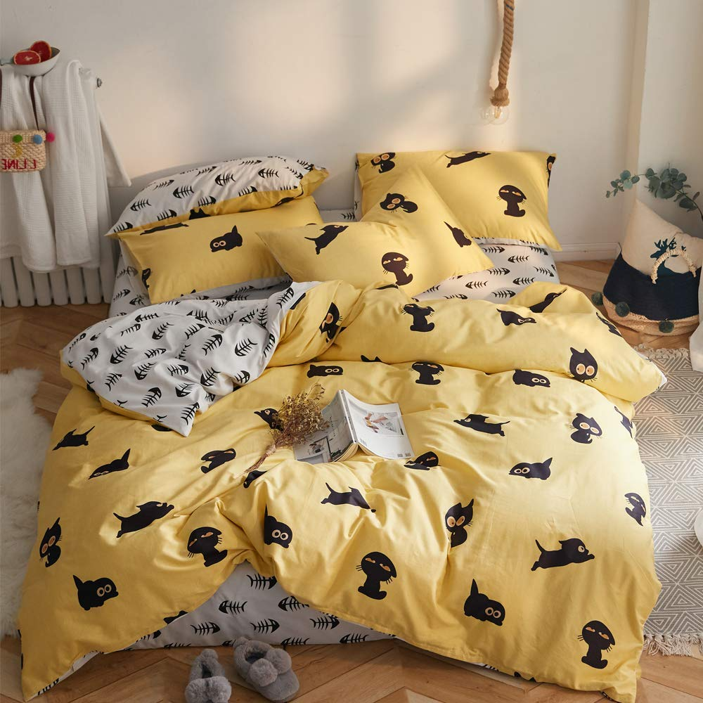 【Newest Arrival】 Cotton Cartoon Cats Duvet Cover Set Twin Duvet Cover for Kids Teens Yellow Comforter Cover Black Kitten Bedding Sets Yellow Grey Reversible Bedding Collection with Zipper Closure
