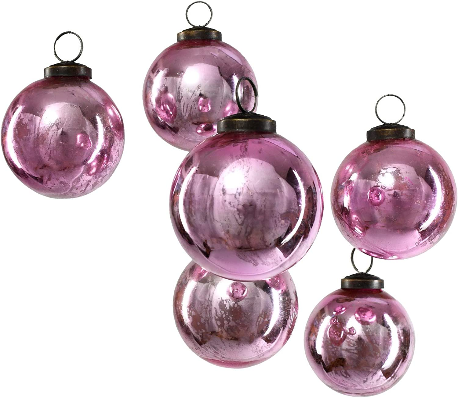 """Serene Spaces Living Set of 6 Decorative Antique Rose Pink Mercury Glass Ball Ornament for Window Box, Ornaments for Holiday Décor, Measure 4"""" Tall and 3"""" Diameter"""