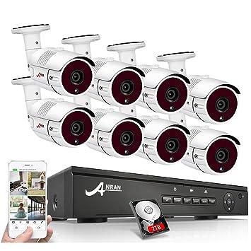 Kits Cámaras de Vigilancia PoE, ANRAN Kit Sistema de Seguridad CCTV 8CH 1080P Sistema Videovigilancia