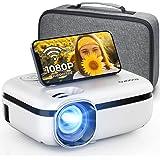 MOOKA Proyector WiFi, 7500L HD para exteriores Mini proyector con bolsa de transporte, pantalla de 1080P y 200 pulgadas sopor