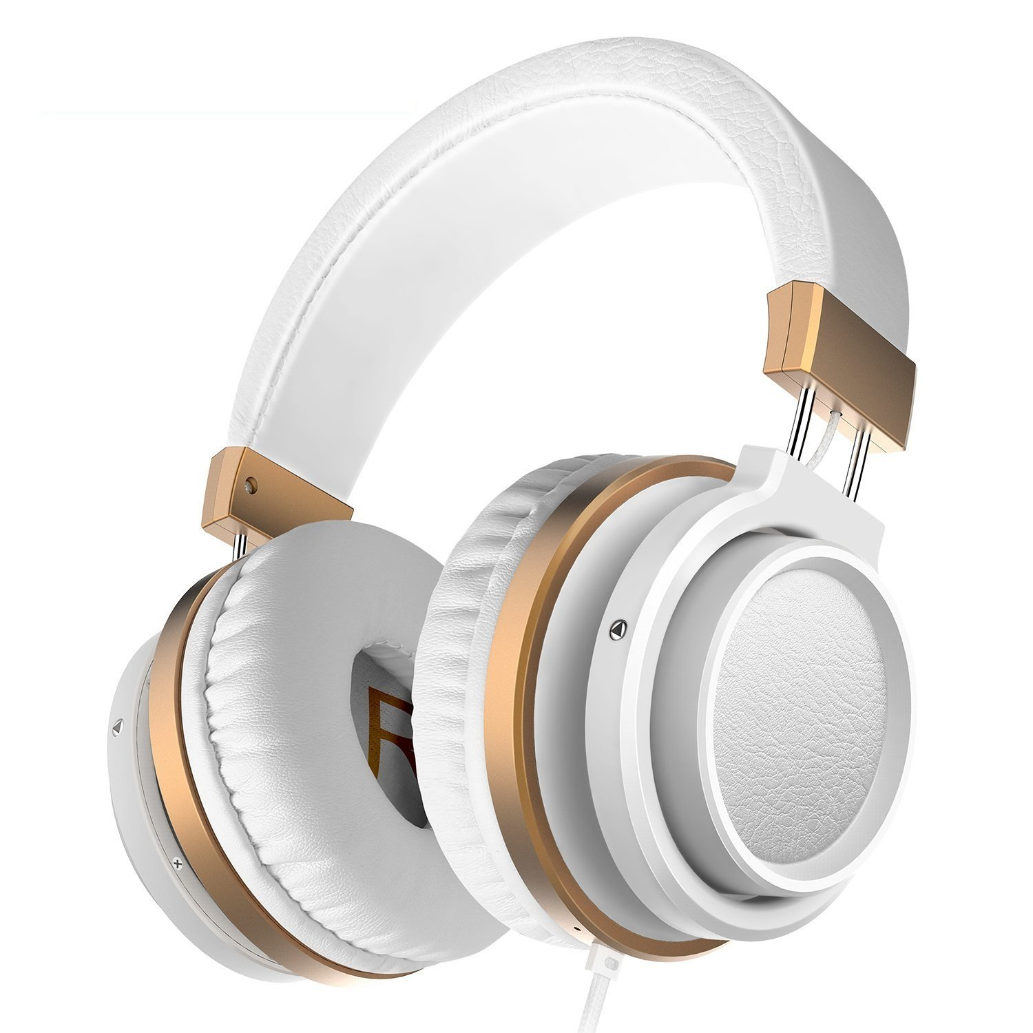 Ailihen MX-06 Over Ear Headphones with Microphone and Volume Control Bass Stereo Adjustable Headsets for IOS Android Smartphones Laptop Tablets Computer MP3/4 (White Golden)