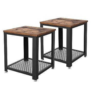 VASAGLE Table d\'Appoint 2 Tables de Chevet Table Basse avec Rangement  Armature en métal pour Cuisine, Chambre Style Industriel Look Vintage  Aspect ...