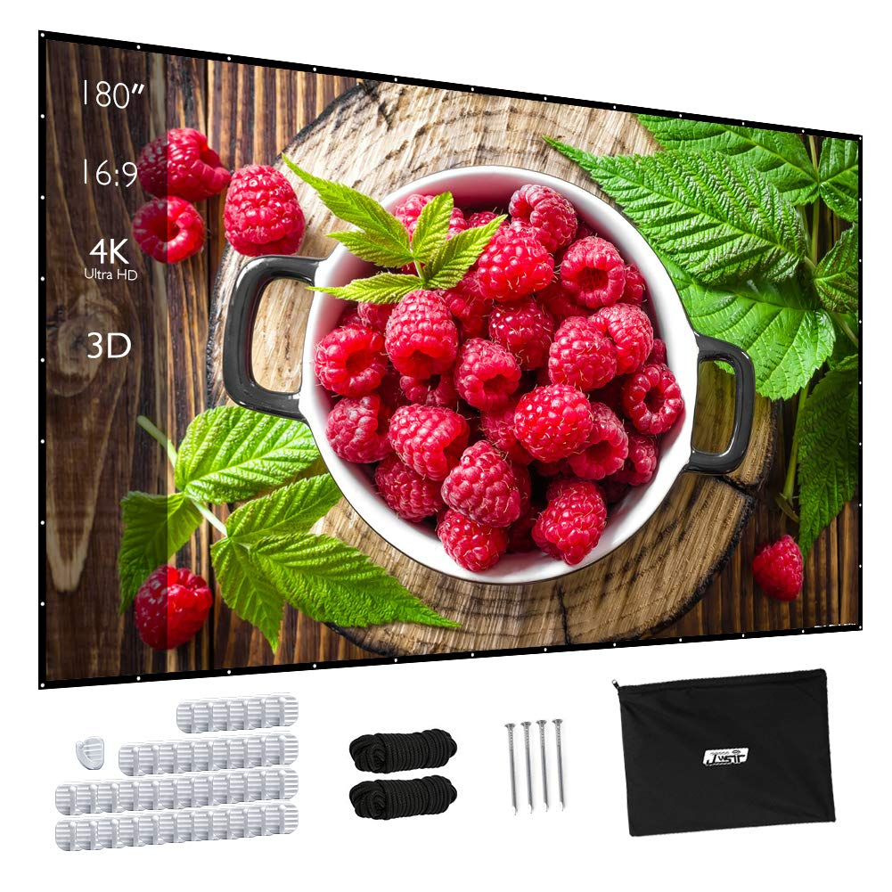 Projector Screen, Upgraded 180 Inch Portable Projector Screen 16:9 HD Anti-Crease Indoor Outdoor Foldable Portable Movie Screen by JWSIT