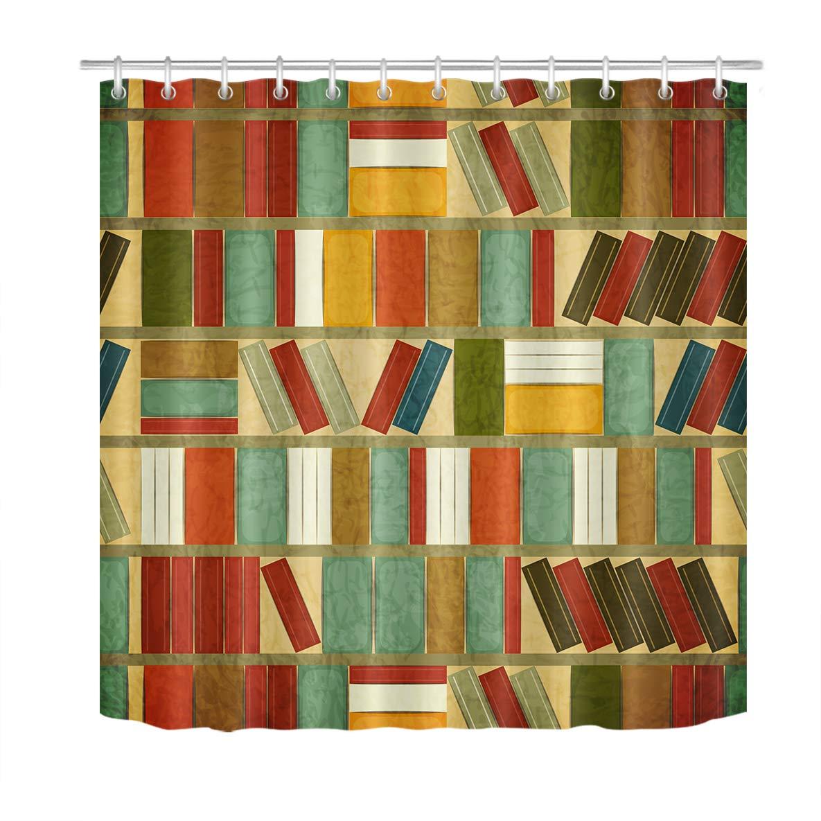 Libreria doccia tenda libri colorati sullo scaffale, bella Bookrack tessuto poliestere modellato tende da bagno impermeabile antimuffa arredamento bagno accessori per la casa con 12 ganci per tende 180x200 cm JinShiZhuan